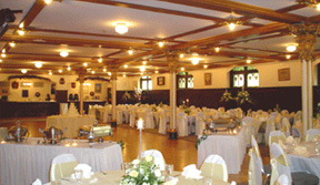 A fully decorated and prepared ballroom, ready for an event